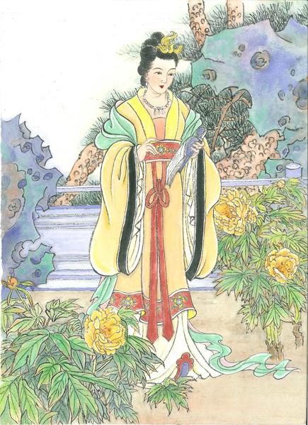 """千古爱情佳偶 苏轼和王弗""""唤鱼联姻""""。(古瑞珍/大纪元制图)"""