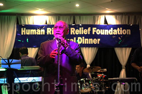 11月6日晚,在悉尼西区坎利高地水晶宫酒家(Crystal Palace Restaurant Canley Height)越南人权基金会举办了为人权募捐的年度晚宴。图为81岁人权活动家Vo Dai Ton(袁丽/大纪元)