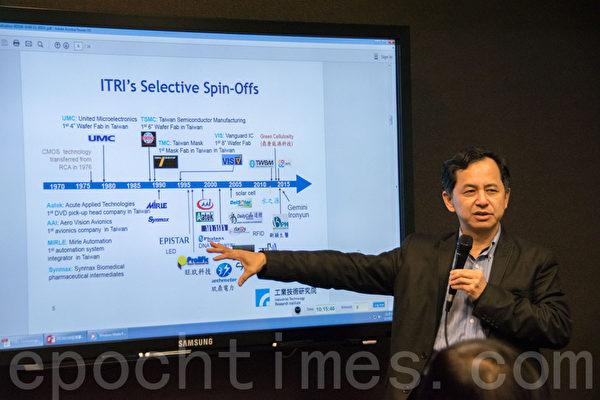 工研院北美公司總經理王韶華介紹入圍創新科技的詳細內容。(曹景哲/大紀元)