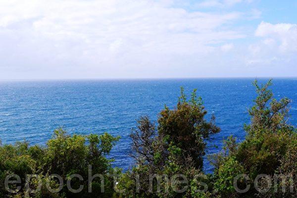 Low Head半島前方是一望無際的巴斯海峽。(華苜/大紀元)