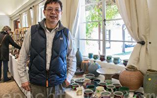 湾区华裔陶艺家林新春在硅谷陶瓷艺术展。(曹景哲/大纪元)