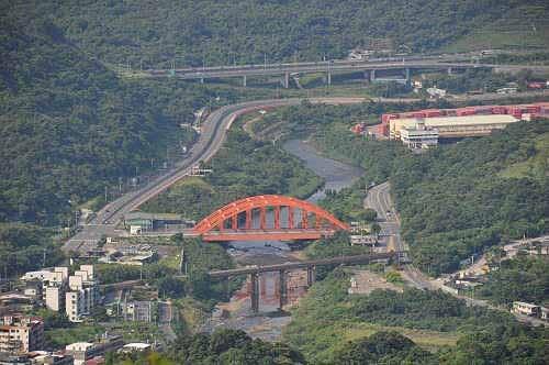 基隆河(镜头拉近。红色拱桥为庆安桥。)。 (图片提供:tony)