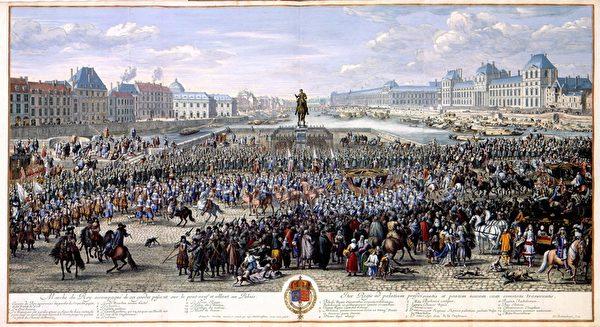 《太陽王在侍衛隨護下從新橋向巴黎前進》,版畫,before 1690。(公共領域)