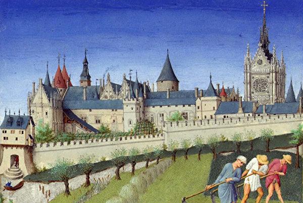 《時間之書》插圖中的巴黎之城。(公共領域)