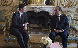 11月29日,加總理特魯多在愛麗捨宮會見法總統奧朗德,雙方就反恐戰略和氣候峰會交換了意見。(加通社)