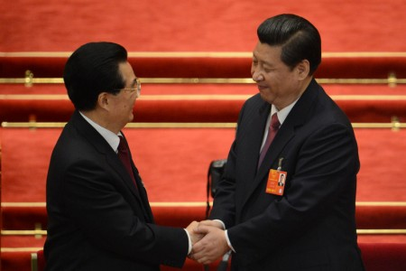 """胡锦涛在中共""""十八大""""全退,将所有权力移交给习近平。(Getty Images)"""