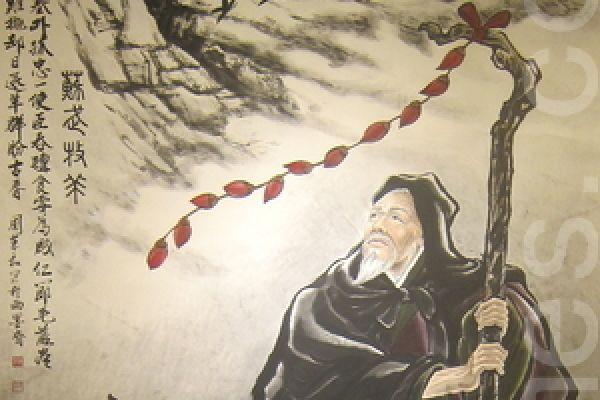 台北市中国画学研究会书画家周东和的水墨画《苏武牧羊》。(锺元/大纪元)