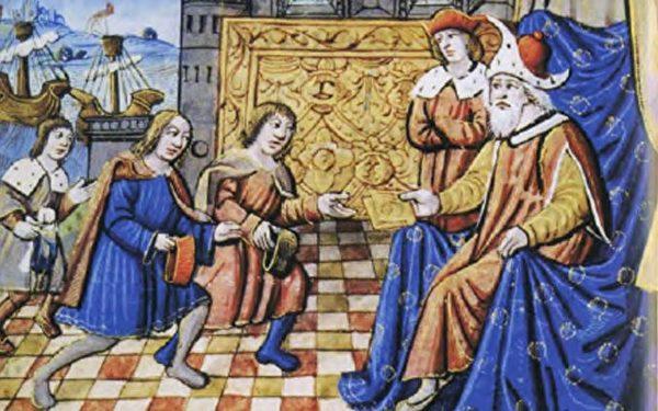 忽必烈接见马可波罗,中世纪晚期,无名画家。(维基百科公共领域)