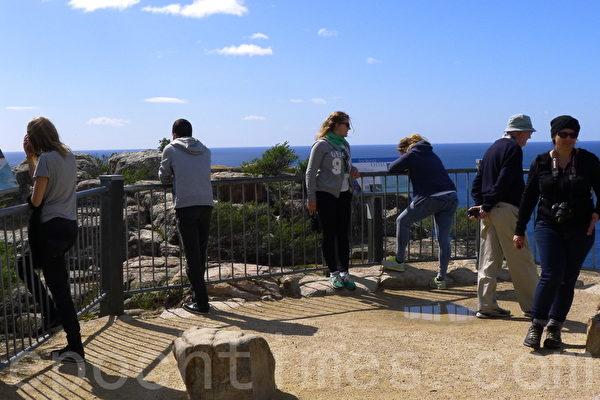 游客在图维尔角灯塔的观景台上(华苜/大纪元)