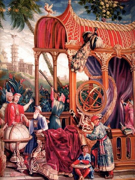 1690-1705 耶稣会士天文学家和康熙大帝织锦画。(波维丝出产/公共领域)