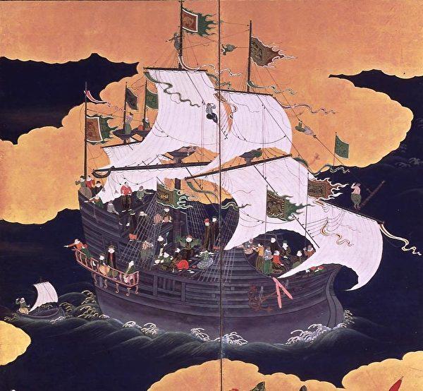 公元17世纪在日本长崎海域航行的葡萄牙克拉克帆船。(公共领域)