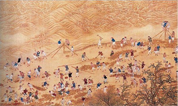 康熙帝南巡图卷,治黄河。(公共领域)