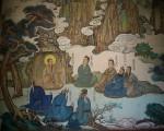 王重阳与北七真。 中间端坐者为王重阳。丘处机居其左首第一。(维基百科公有领域)