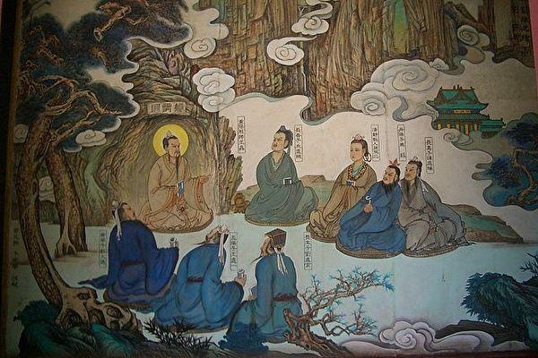 王重陽與北七真。 中間端坐者為王重陽。丘處機居其左首第一。(維基百科公有領域)