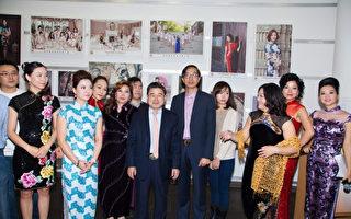 由法拉盛網主辦的紐約旗袍攝影大賽「時尚古韻」作品展,12日~24日在法拉盛圖書館展出。(法拉盛網梅麗娜提供)