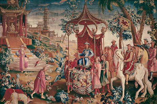 18世紀博韋壁毯第一套之「皇帝出行」(The Prince's Journey)。(公有領域)
