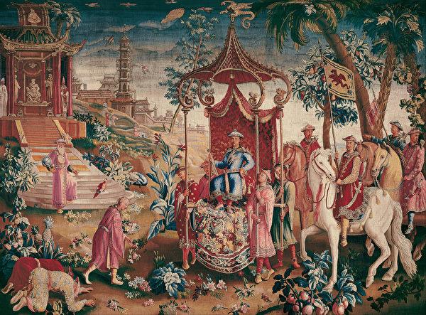 皇家波维丝织锦画制作,国王之旅。(Google Art Project,维基百科公共领域)
