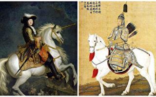 左:路易十四骑马画像;右:乾隆骑马画像,绘于乾隆23年南苑大阅时。(公共领域,大纪元合成)