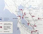MTC周四发布的2014湾区10大拥塞路段地图。(大纪元翻拍)