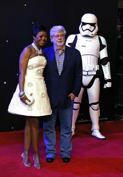 星戰之父喬治‧盧卡斯與夫人。(Chris Jackson/Getty Images for Matchless)