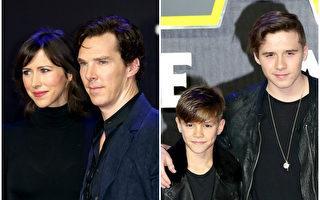 英伦影星康伯巴奇与爱妻亨特、布鲁克林‧贝克汉姆与弟弟罗密欧出席《星球大战7》伦敦首映式。(Getty Images/大纪元合成)
