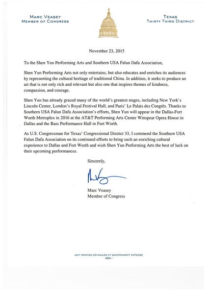 神韵2016全球巡演于2016年3月14日至3月15日在美国德克萨斯州的沃斯堡上演2场演出。德州联邦众议员维西(Marc Veasey)向神韵艺术团及其当地演出主办方发来贺信,欢迎神韵的到来。(大纪元图片)