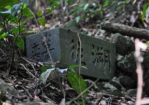 """遇右岔路。路口附近有山友小草所立的""""溯往.追逝""""石碑。 (图片提供:tony)"""