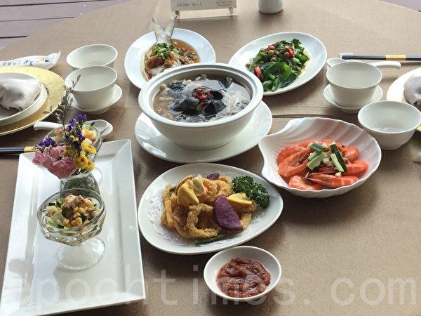 旅行社业者与合法度假中心合作,利用当令食材,提供中西式的健康美食。(谢蕙如/大纪元)