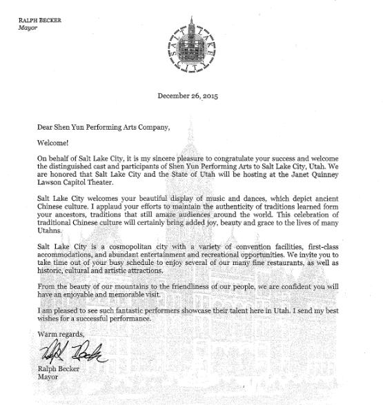 鹽湖城市長拉夫‧貝克(Ralph Becker)在賀信中說:「歡迎﹗我代表鹽湖城,衷心祝願你們取得成功。歡迎尊貴的神韻藝術團的藝術家們和參與者來到鹽湖城。猶他州和鹽湖城在鹽湖城國會大廈劇院能成為東道主,我們感到榮幸。」(大紀元圖片)