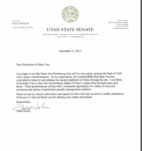 猶他第23選區參議員托德‧維勒(Todd Weiler)在信中說:「神韻藝術團再次為猶他州帶來典雅的演出,我感到高興。神韻藝術團通過藝術形式弘揚中國傳統文化的作法值得讚賞。」(大紀元圖片)