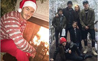 贝嫂平安夜晒出贝克汉姆扮成圣诞老人的模样,并上传雪景中的全家福给粉丝送圣诞祝福。(Instagram图片/大纪元合成)