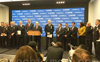12月29日布萊頓和白思豪及FBI代表向媒體公布時代廣場除夕夜保衛措施。(施萍/大紀元)
