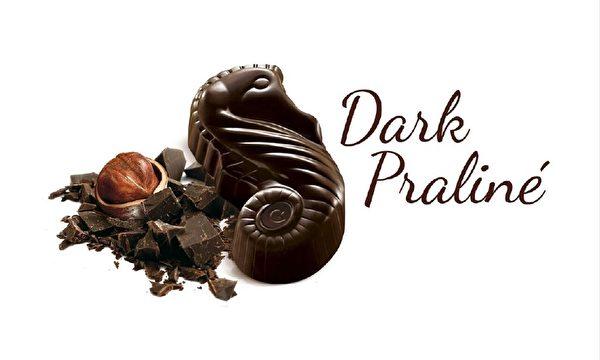 吉利莲海马造型的黑巧克力夹心刚刚获得了布鲁塞尔国际风味暨品质评鉴所ITQI的风味绝佳奖(Superior Taste Award)的两颗星。(吉利莲提供)