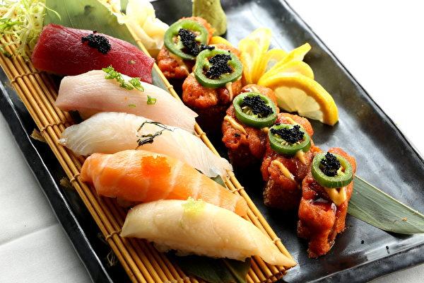 日餐生鱼寿司。(张学慧/大纪元)