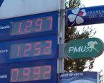 2015年12月14日,紐約的原油價格跌破每桶35美元,是2009年以來的首次。國際原油期貨價格也連續第七個交易日下跌。圖為法國馬賽一個加油站價格板,最底下的柴油價格已低於一歐元。此價格已經是2009年3月以來的最低價。(BORIS HORVAT/AFP/Getty Images)