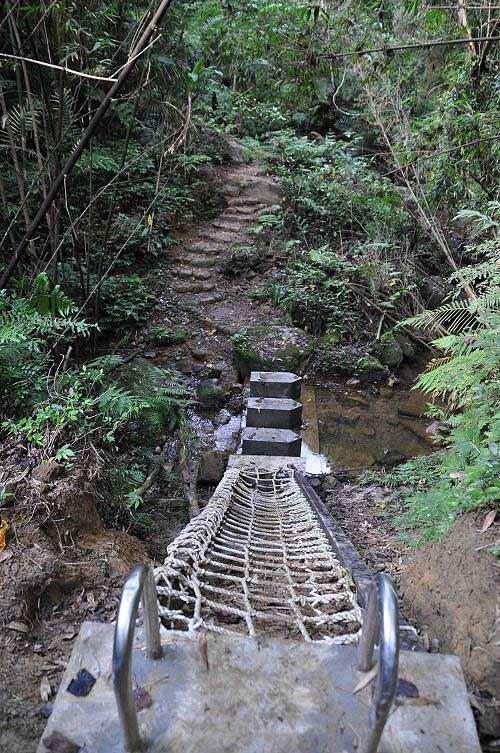 又遇格网阶梯,下至溪谷,踏石越溪。 (图片提供:tony)