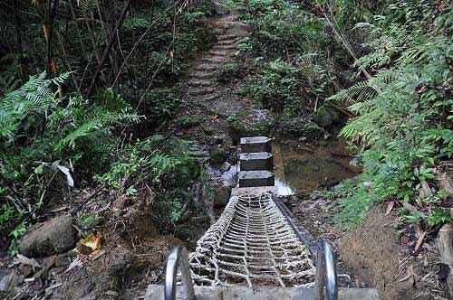 岭脚寮山登山步道越溪处的格网阶梯。(图片提供:tony)
