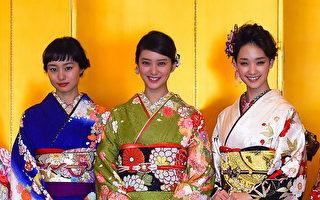 组图:日本女星展示亮丽和服贺新年