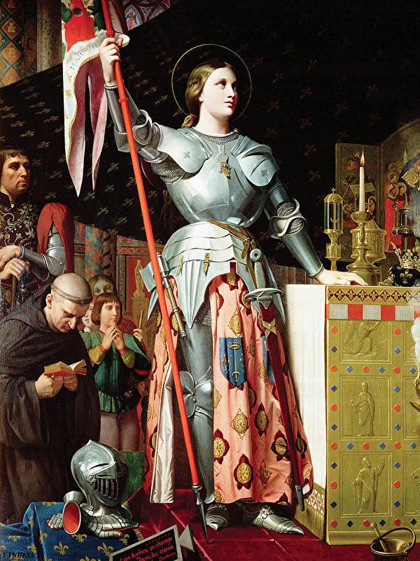 《聖女貞德在查理七世的加冕典禮上》,1854年,由安格爾所繪。(維基百科公共領域)