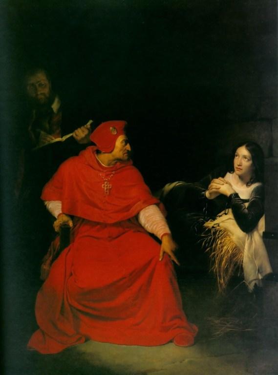 溫徹斯特的樞機在審問貞德。由Gillot Saint-Èvre所繪,現存巴黎羅浮宮。(維基百科公共領域)