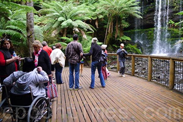 殘疾人也可以到菲爾德山觀看瀑布,其瀑布是32米高的羅斯爾瀑布(華苜/大紀元)