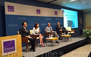 """1月13日,美国智库兰德公司(RAND Corporation)与中华民国驻洛杉矶台北经济文化办事处,在圣莫尼卡联合举办了""""东海及南海海事议题研讨会""""。新美国安全中心(Center for a New American Security)亚太安全资深研究员瑞普-胡波(Mira Rapp-Hooper)博士在研讨会上发言。(李姗/大纪元)"""