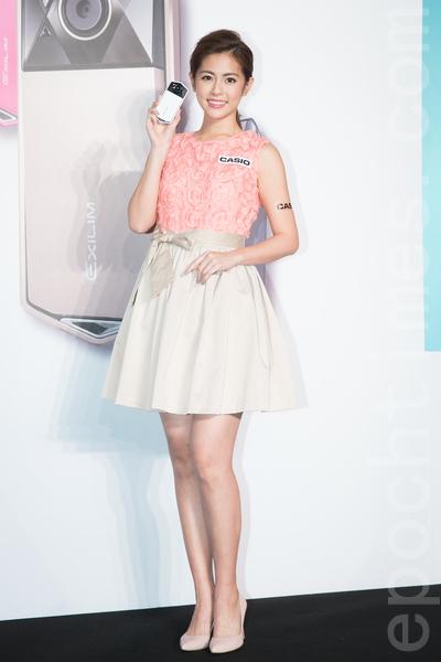 艺人任容萱1月20日在台北出席代言活动。(陈柏州/大纪元)
