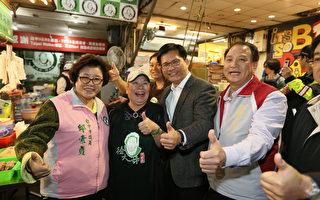 台中市长林佳龙(右2)前往忠孝路夜市视察,与同行的议员邱素贞(左1)品尝小吃。(台中市政府提供)