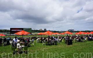 悉尼首届华人赛马节,马迷们在户外欣赏赛马。(李裕/大纪元)