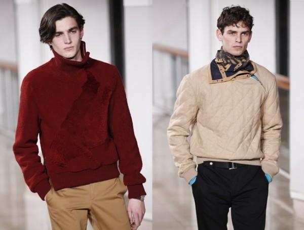 Hermes的特儿于2016年1月23日法国男装时尚周伸展台展示2016/2017秋冬新款。(Getty Images/大纪元合成)