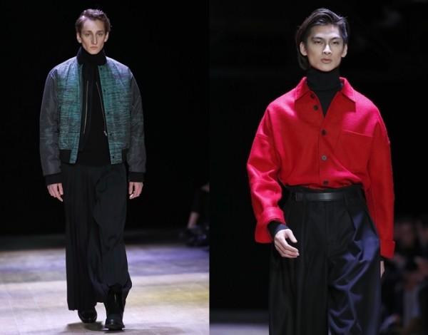 Songzio的模特儿于2016年1月23日法国男装时尚周展示,宽松裤子成新流行趋势。 (Getty Images/大纪元合成)