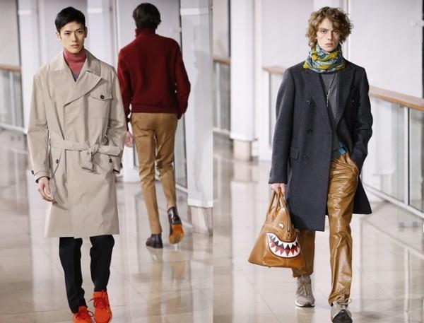 爱马仕Hermes模特儿参加2016年1月23日法国男装时尚周展示2016/2017秋冬新款。超大及膝大衣成流行趋势。(Getty Images/大纪元合成)