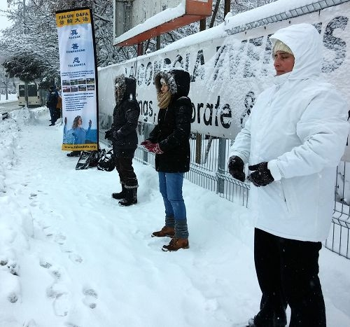 罗马尼亚东西方法轮功学员大雪中安静地炼功(图片来源:明慧网文章《风雪中的坚守》)