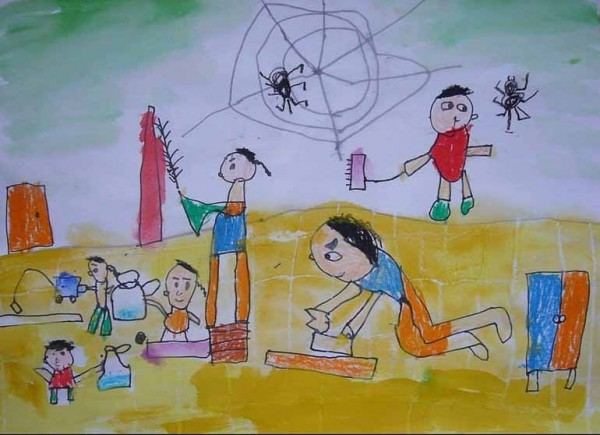"""小东初试啼声之作-《大扫除》,得到""""魔术灵儿童绘画比赛""""幼稚园组铜牌奖。 (图片提供:tony)"""